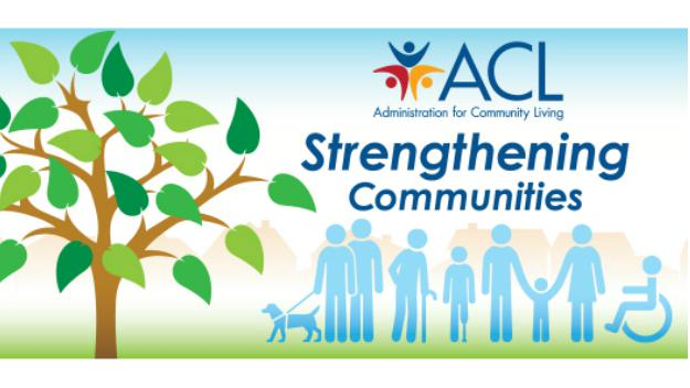 Graphic with ACL logo, stick figures including those with disabilities holding hands.