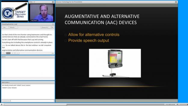Screenshot of Discovery Series webinar with slides, presenter video, and captions.