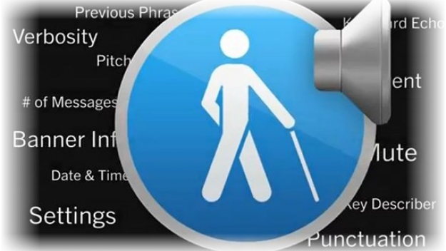 Photo of a symbol of a person walking with a cane, with a computer speaker icon.