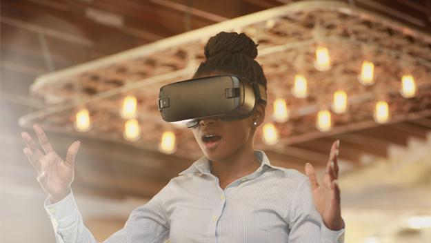 photo of a woman experiencing VR